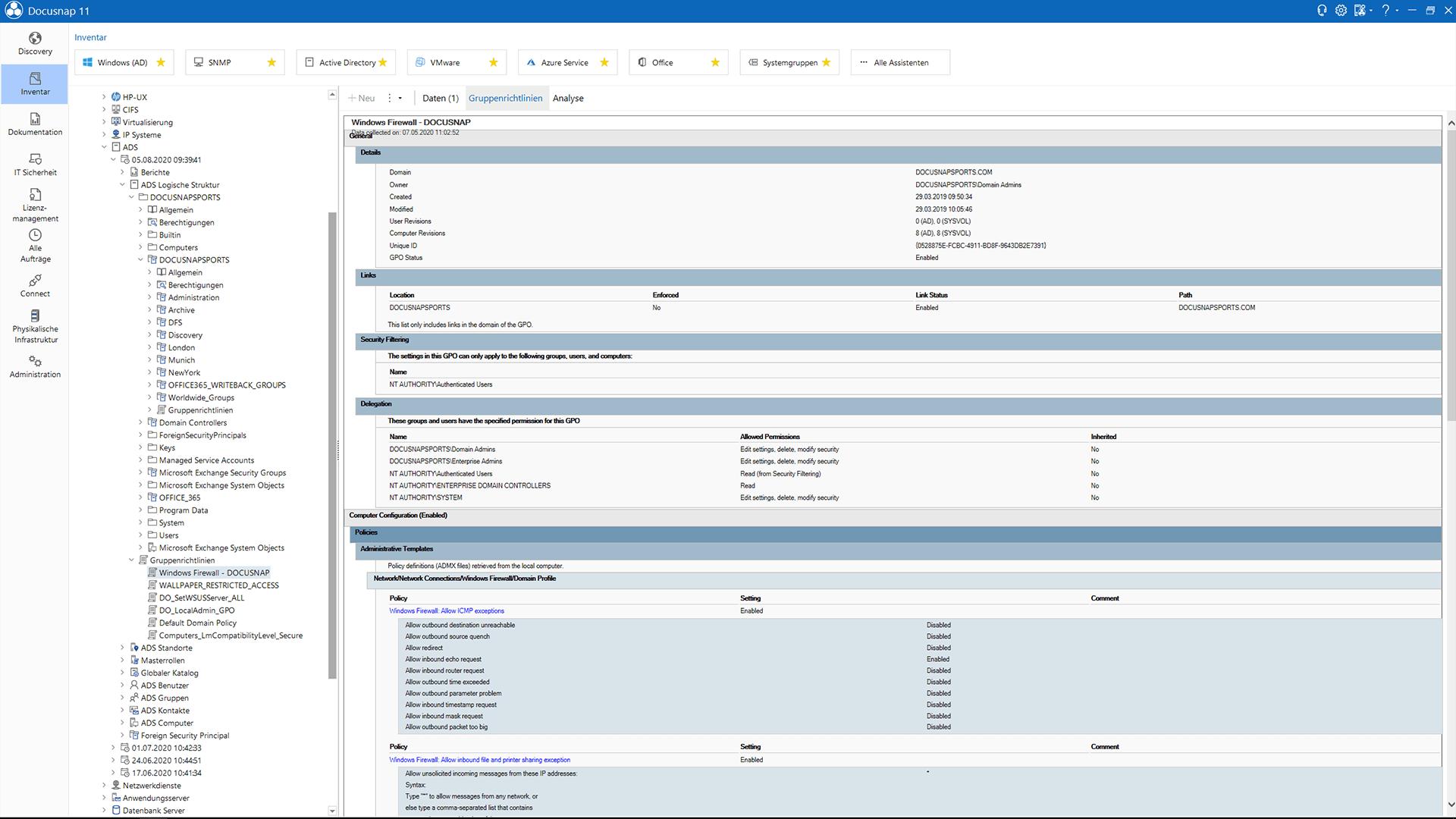 Screenshot: Dokumentation der Active Directory Datenstruktur