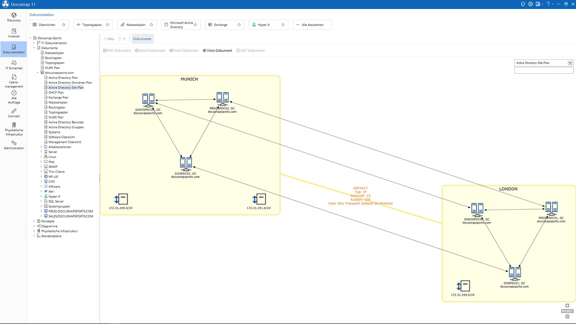 Screenshot: Active Directory Services Standortübersicht innerhalb der Netzwerkdokumentation
