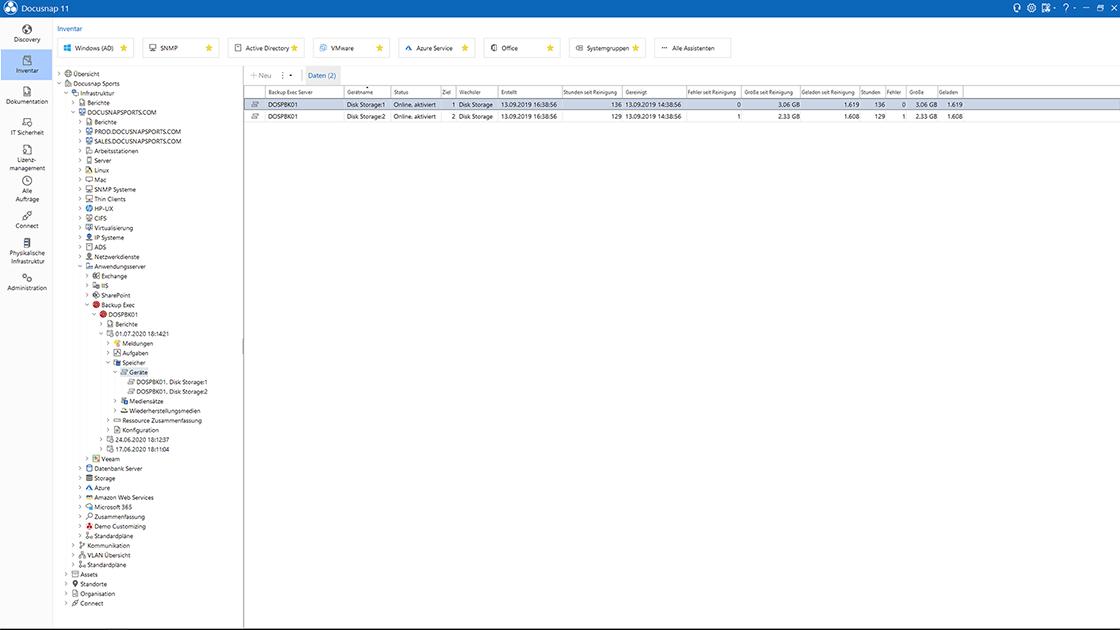 Backup-Exec Inventarisierung im Datenexplorer