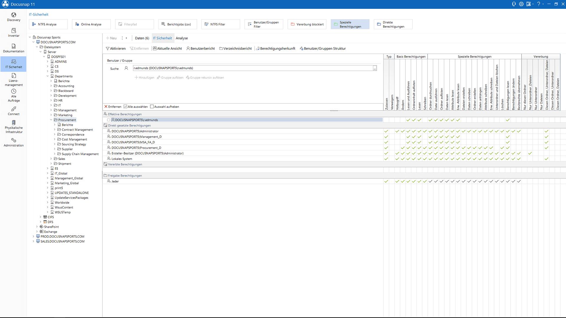 Screenshot: Berechtigungsanalysen innerhalb der IT-Dokumentation