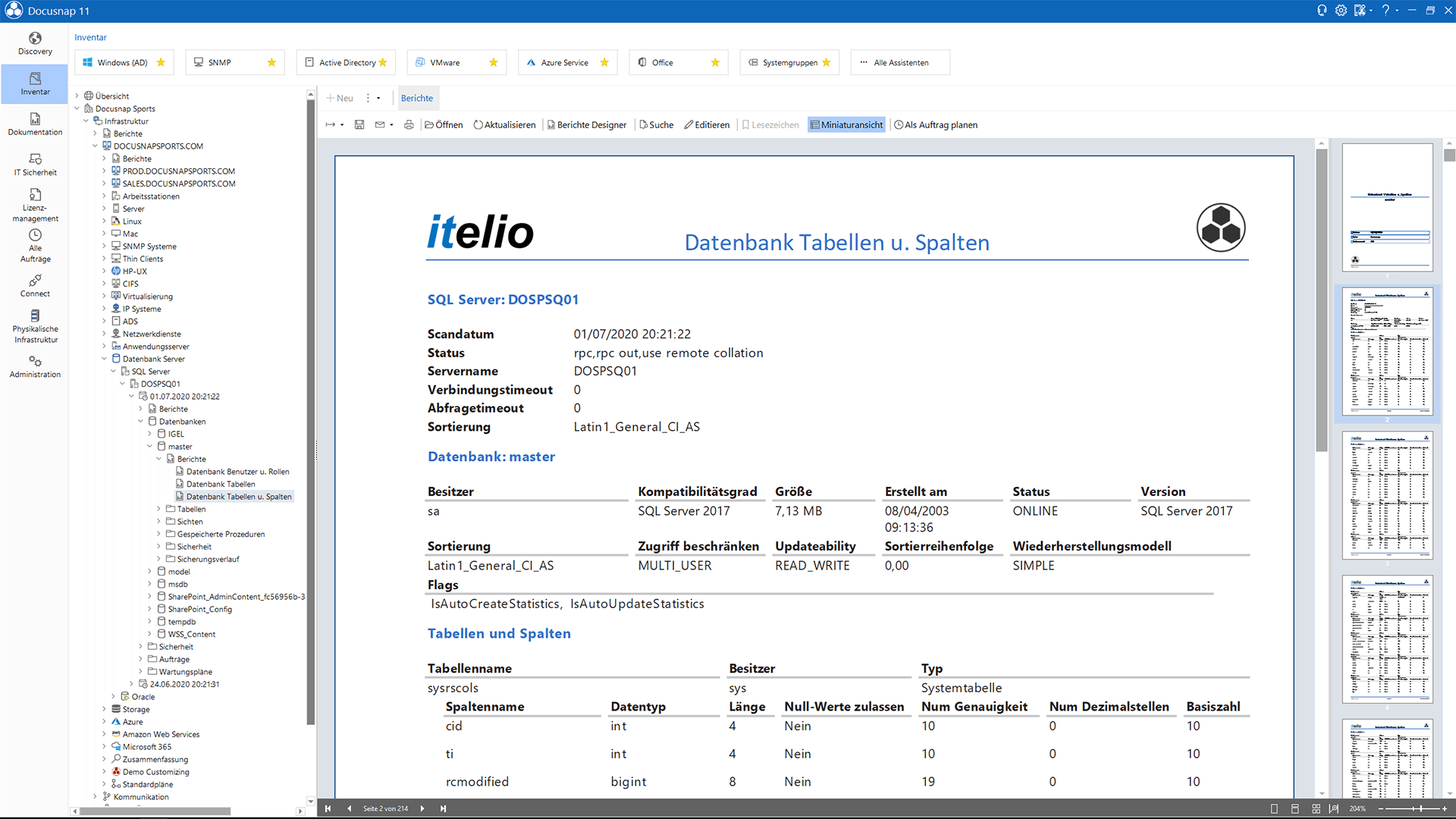 Screenshot: Microsoft SQL Server-Berichte erstellen