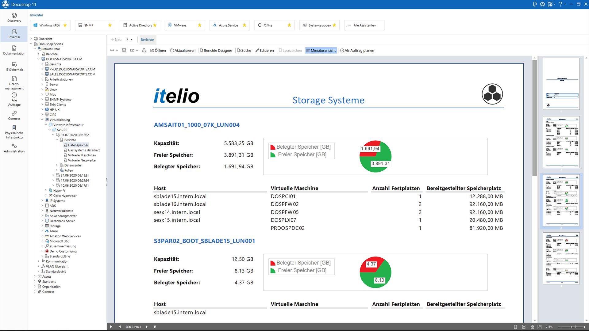 Screenshot: Auswertung verwendeter Datenspeicher