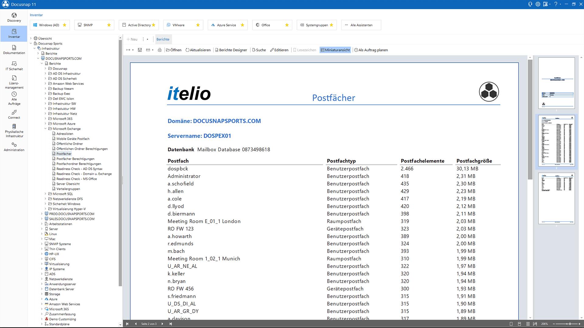 Screenshot: Exchange Server Postfächer-Bericht