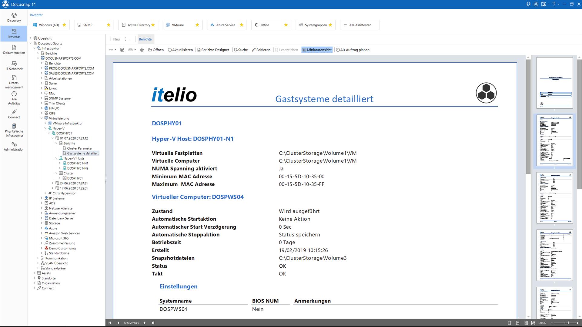 Screenshot: Erstellung VMware XenCenter und Hyper-V Bericht