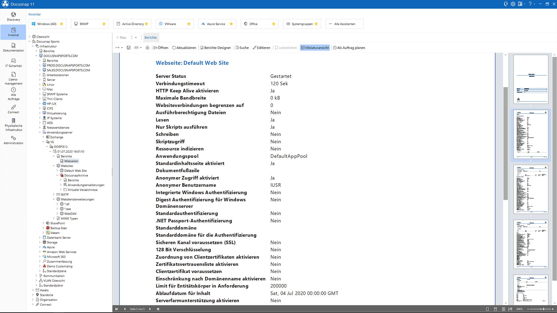 Screenshot: Darstellung IIS-Bericht