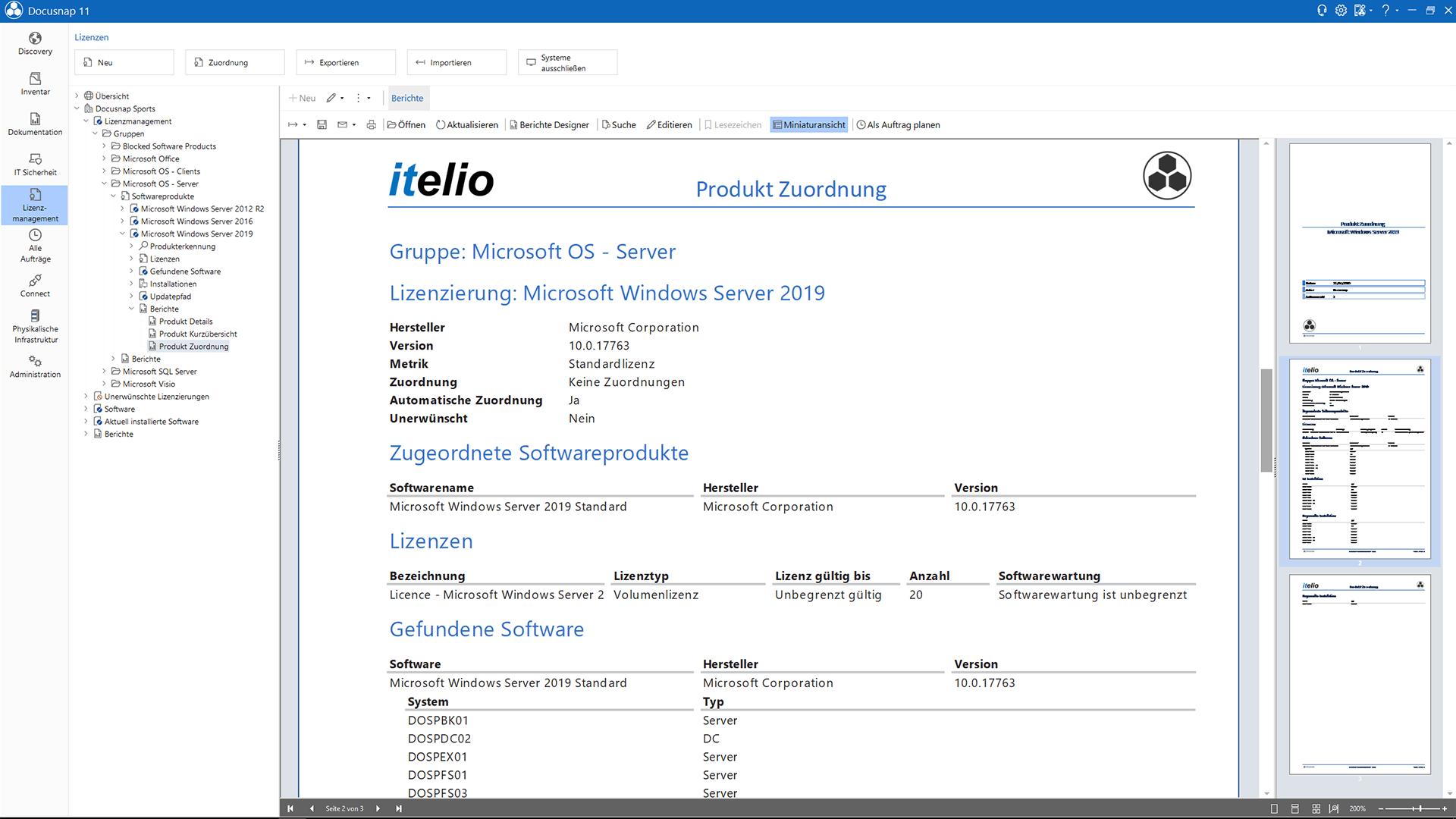 Screenshot: Patchversionen Zusammenfassung im Lizenzmanagement