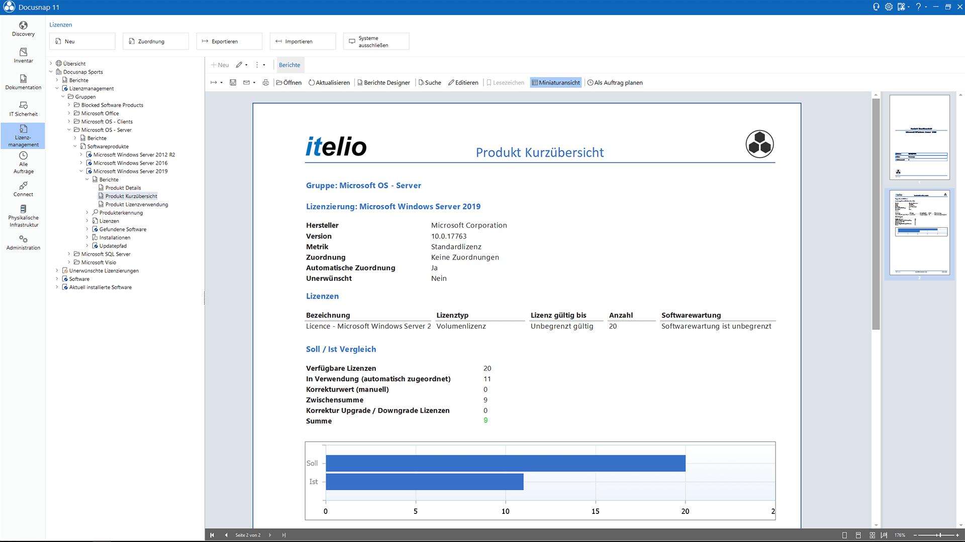 Screenshot: Lizenzmanagement Soll/Ist Auswertung