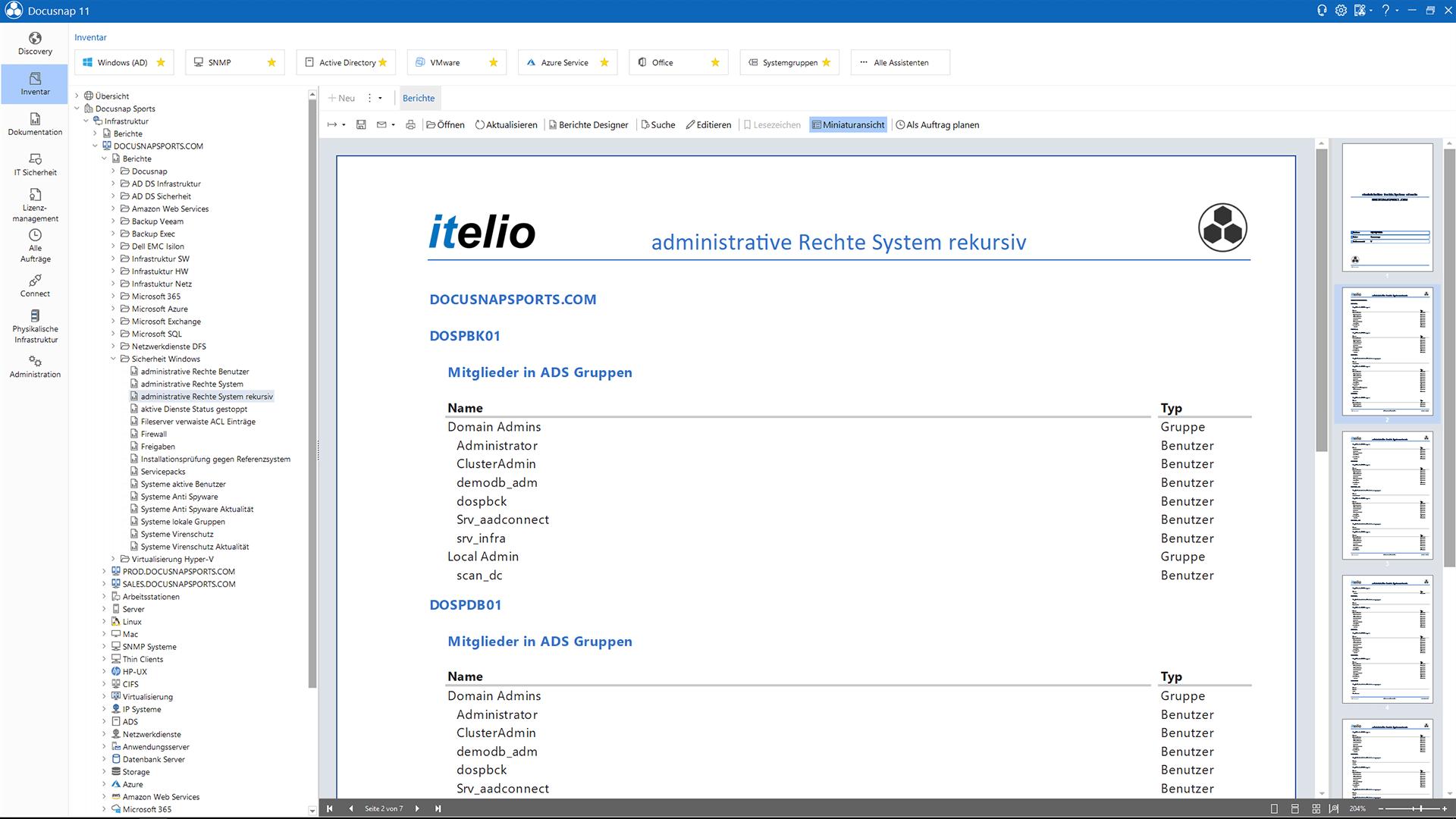 Screenshot: Bericht über Benutzer mit lokalen Adminrechten