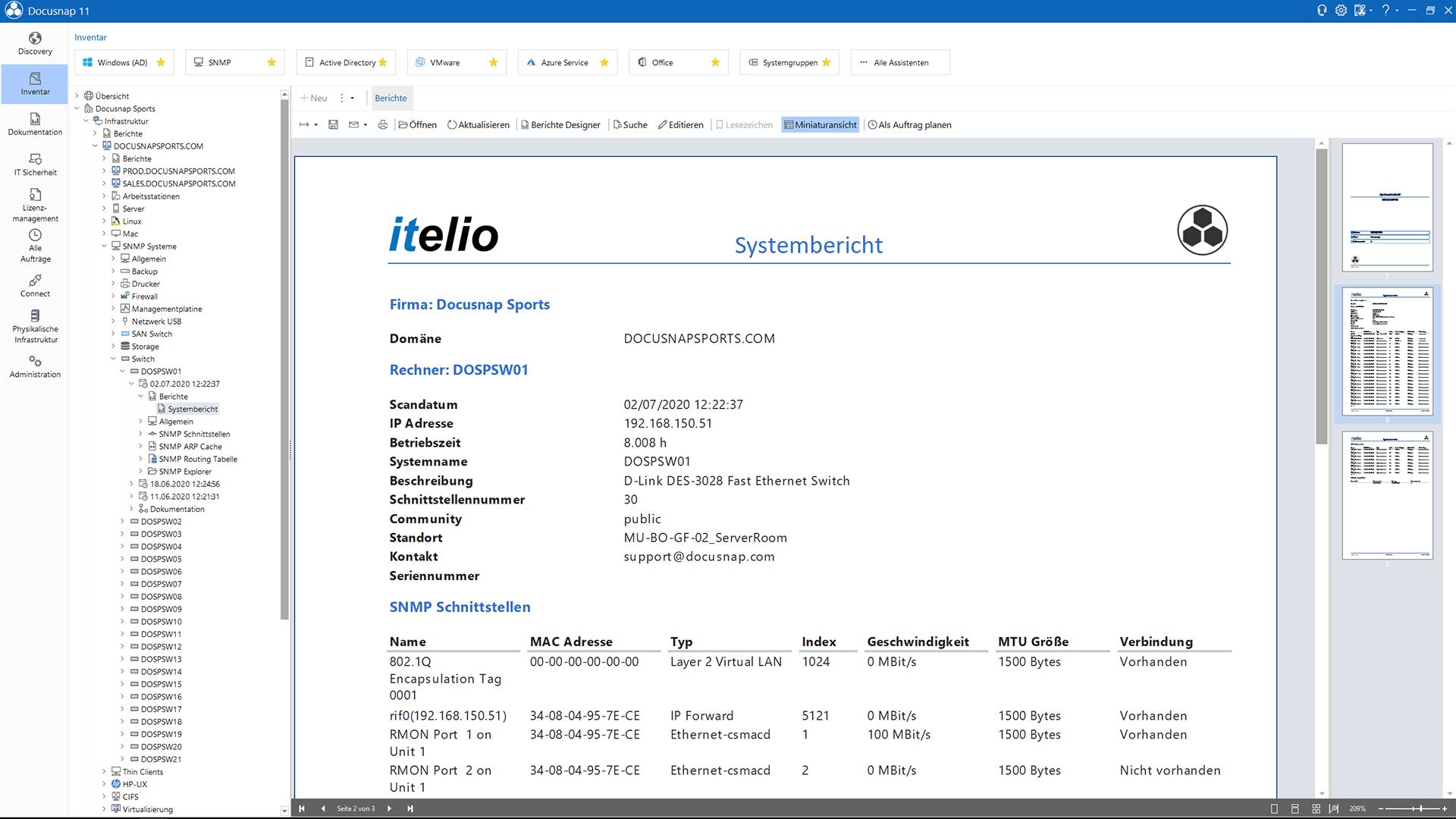 Screenshot: SNMP-Systembericht Generierung