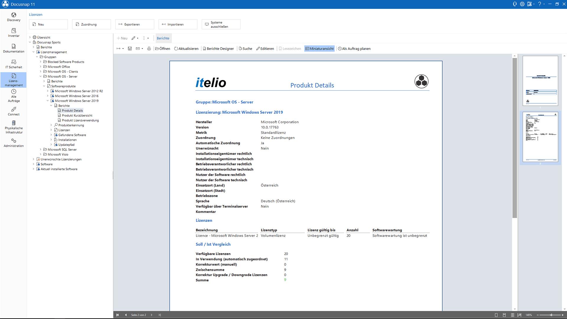 Screenshot: Detailbericht über verwendete Lizenzen von Betriebssystemen