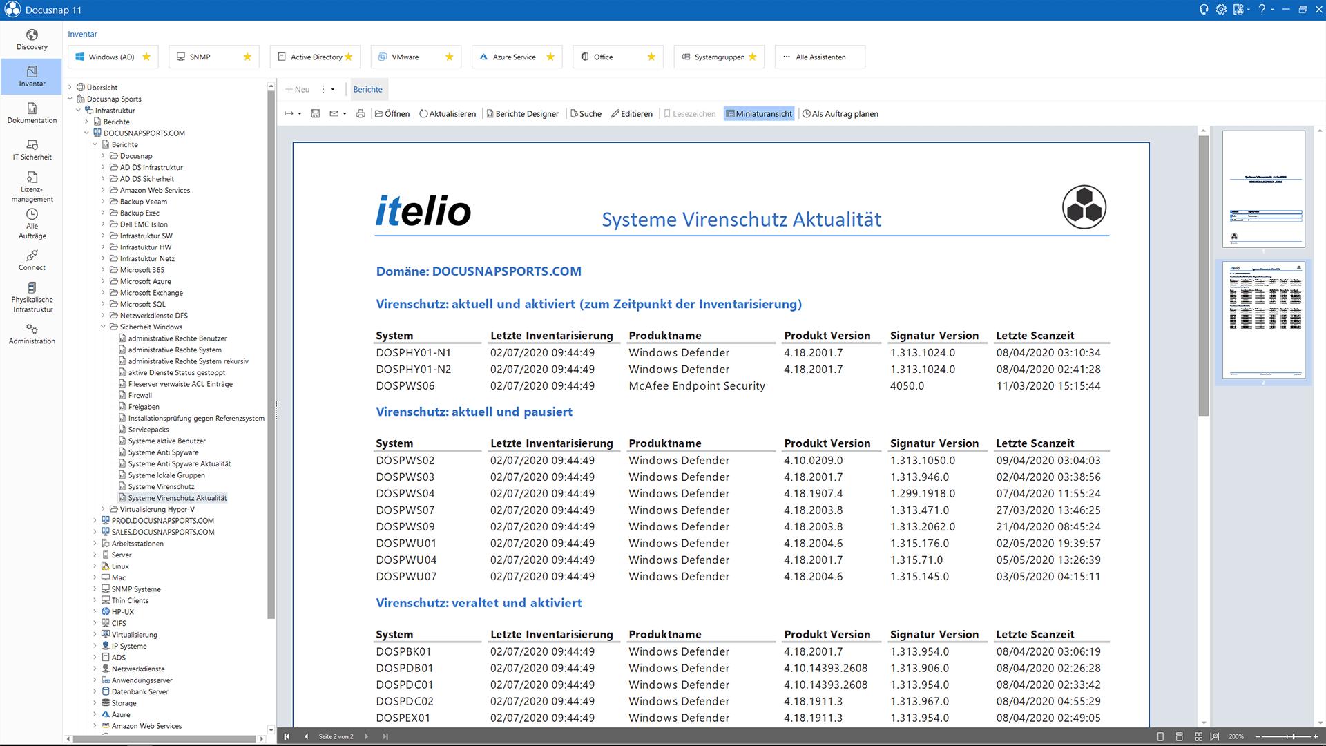 Screenshot: Kontrollbericht über Virenscanner im Netzwerk