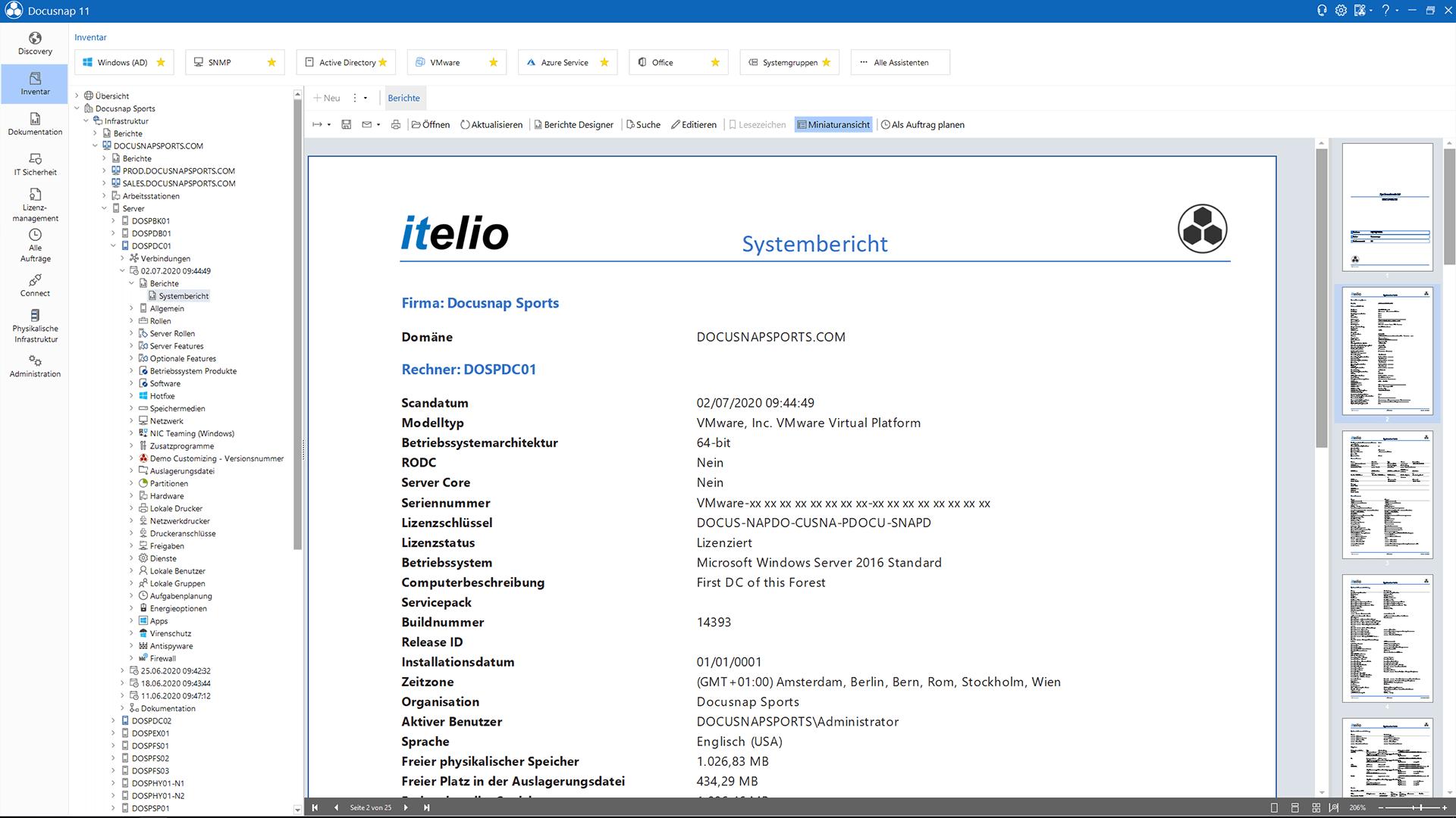 Screenshot: Bericht der inventarisierten Daten
