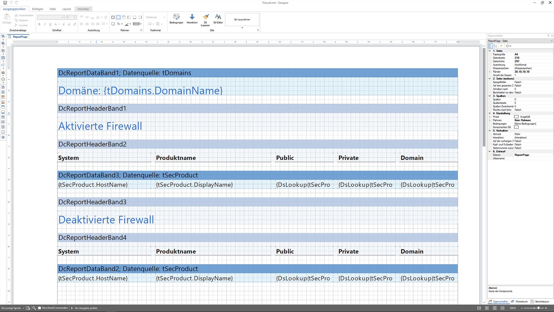 Screenshot: Anpassungen von Berichten im Berichtedesigner