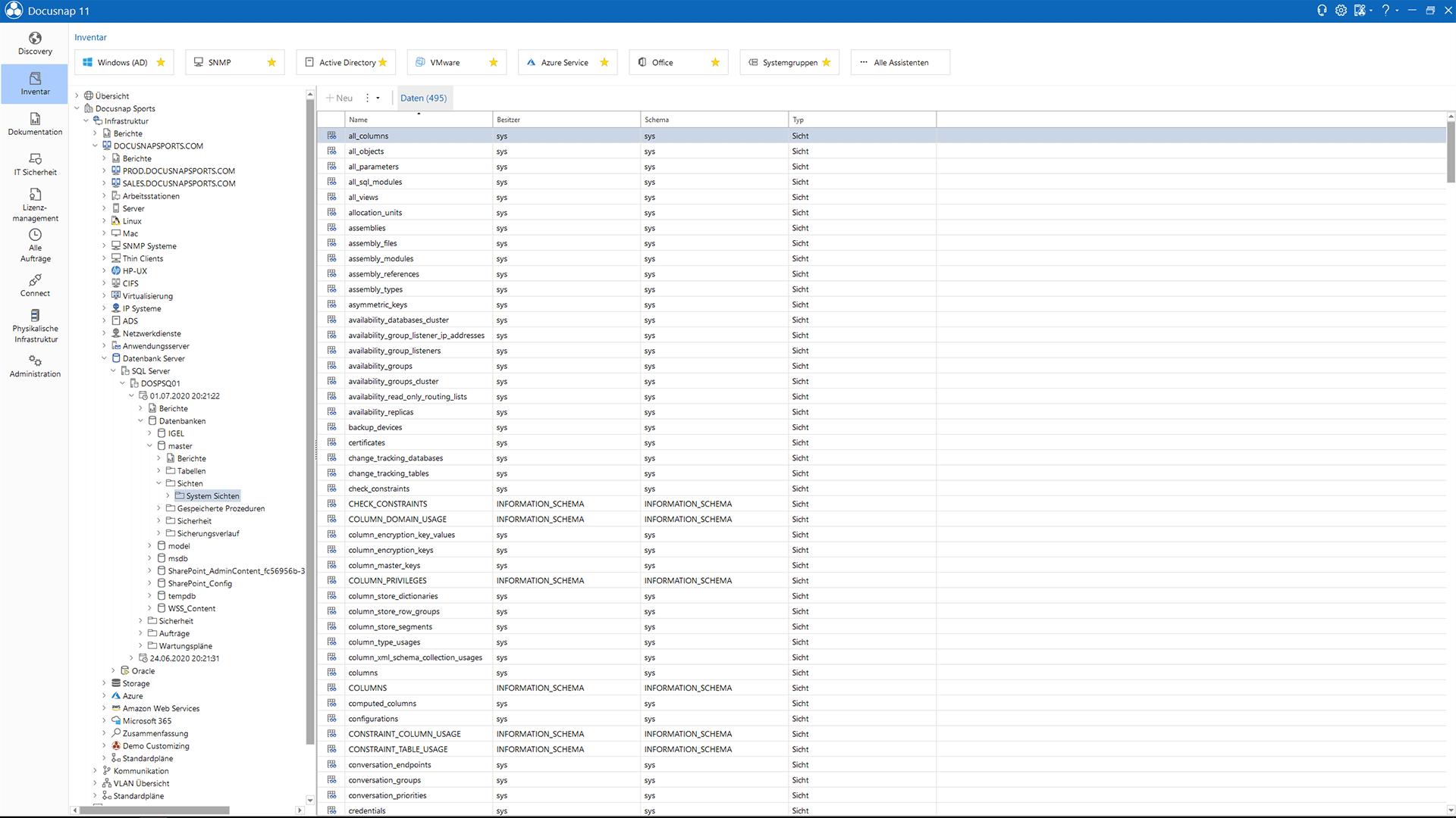 Screenshot: Inventarisierte Microsoft SQL Server Informationen im Datenexplorer