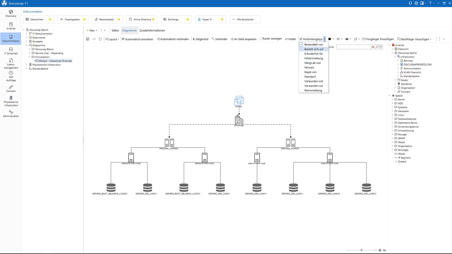 Screenshot: Verbindungstypen Active Directory