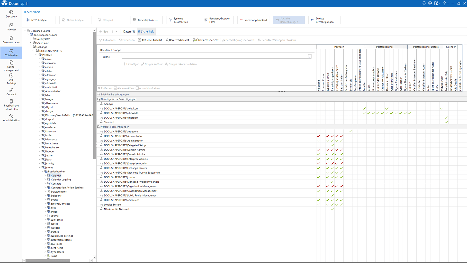 Screenshot: Analyse von Exchange-Berechtigungen