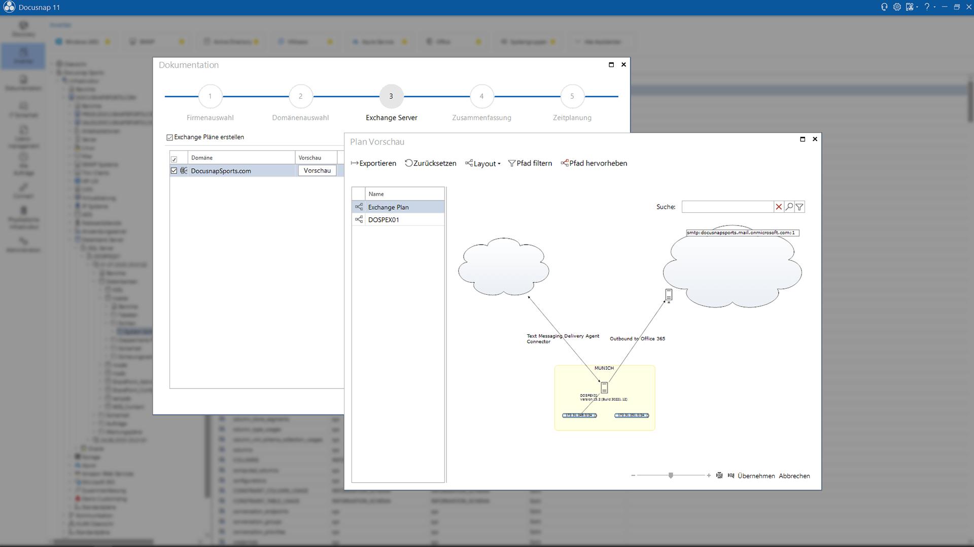 Screenshot: Exchange Server Pläne erstellen