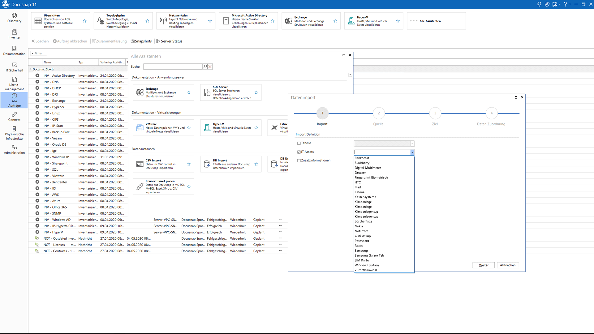 Screenshot: Datenimport von IT-Assets