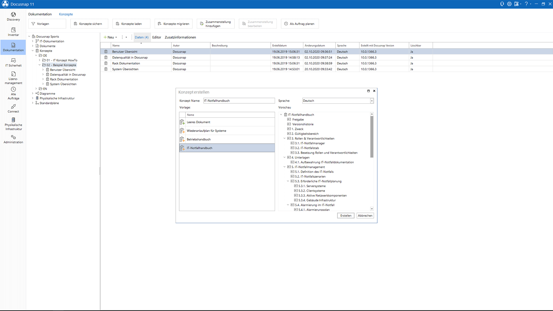 Screenshot: Automatisierung der IT-Konzept-Erstellung