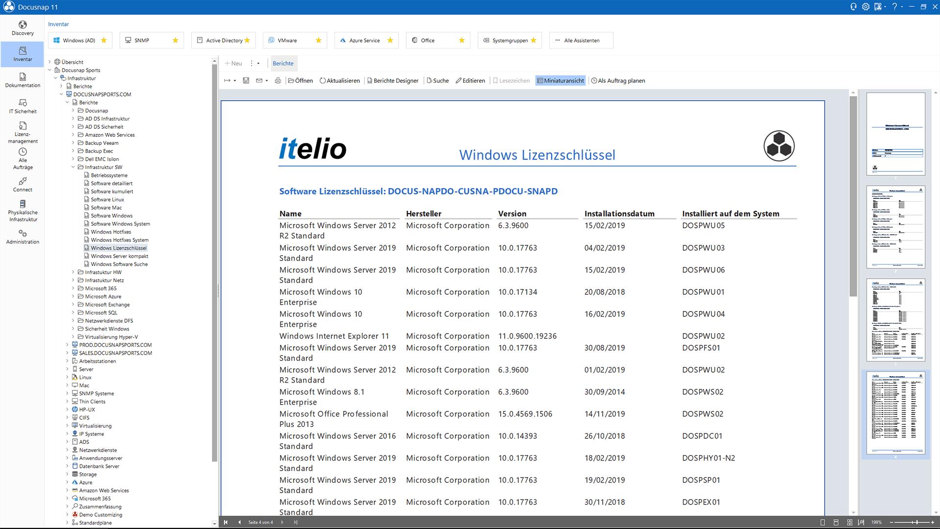 Screenshot: inventarisierte Software in der IT-Dokumentation
