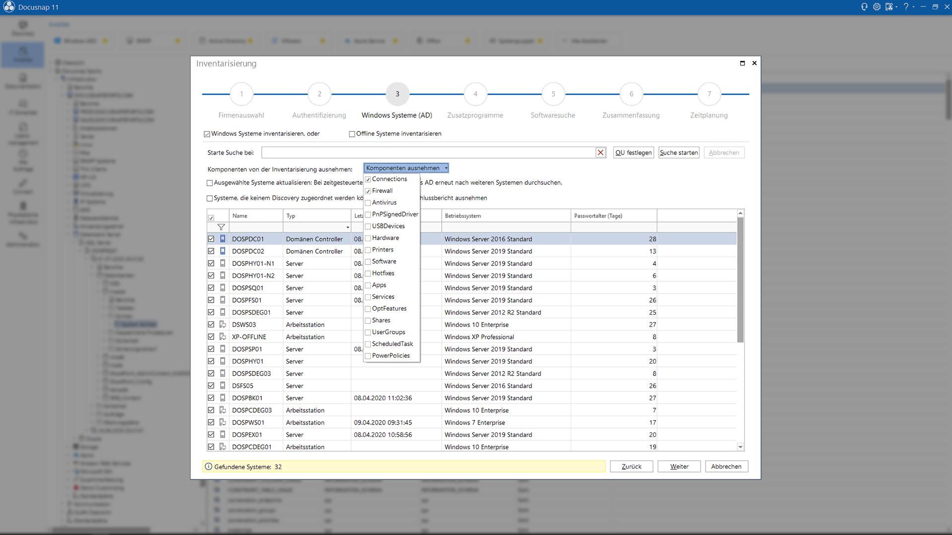 Screenshot: Windows Netzwerk-Inventarisierung