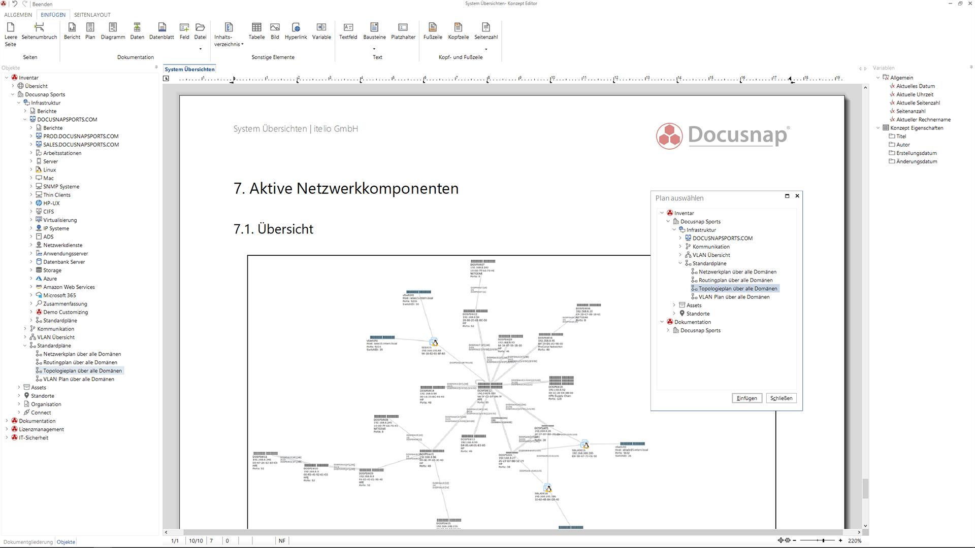 Screenshot: Vordefinierte IT-Konzepte innerhalb der IT-Dokumentation