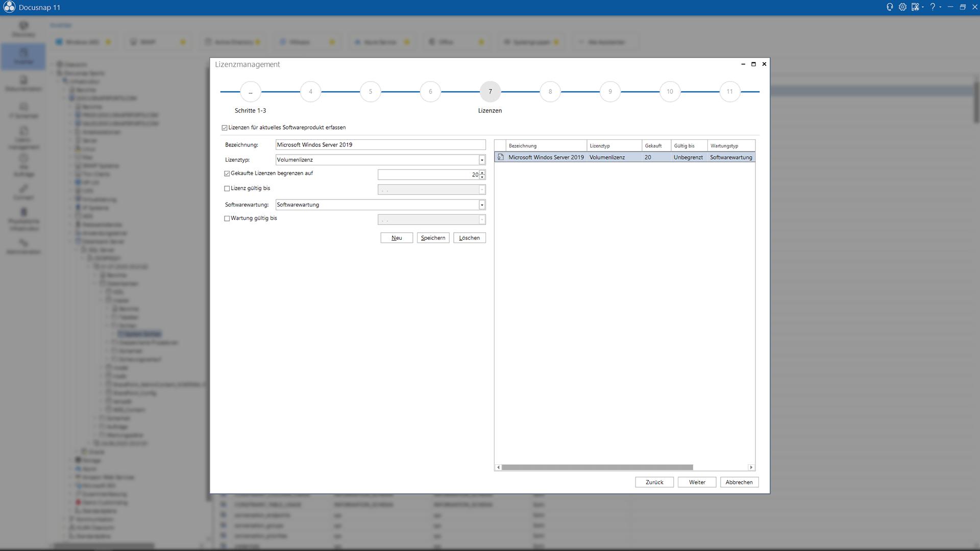 Screenshot: Assistent zur Eingabe und Verwaltung von Lizenzen