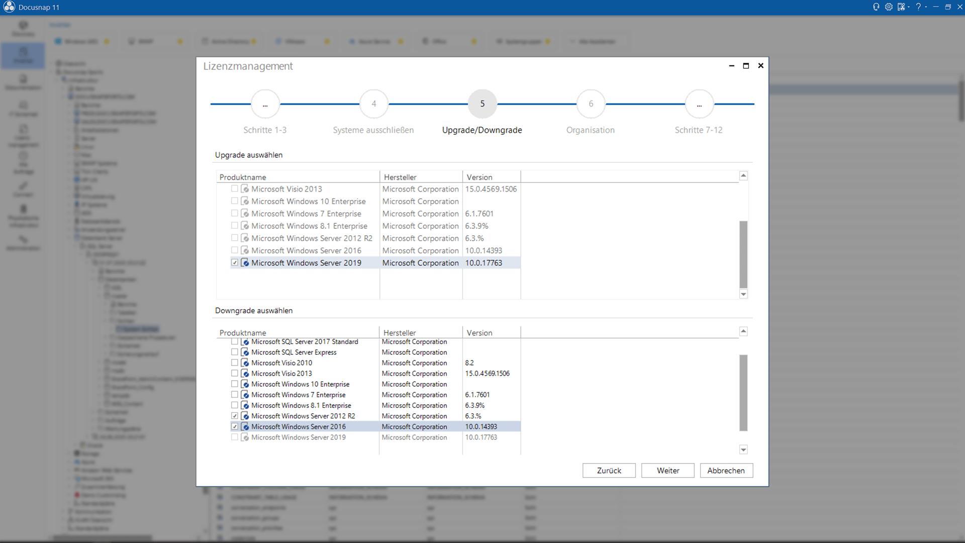 Lizenz-Assistent Upgrade-Downgrade-Funktion