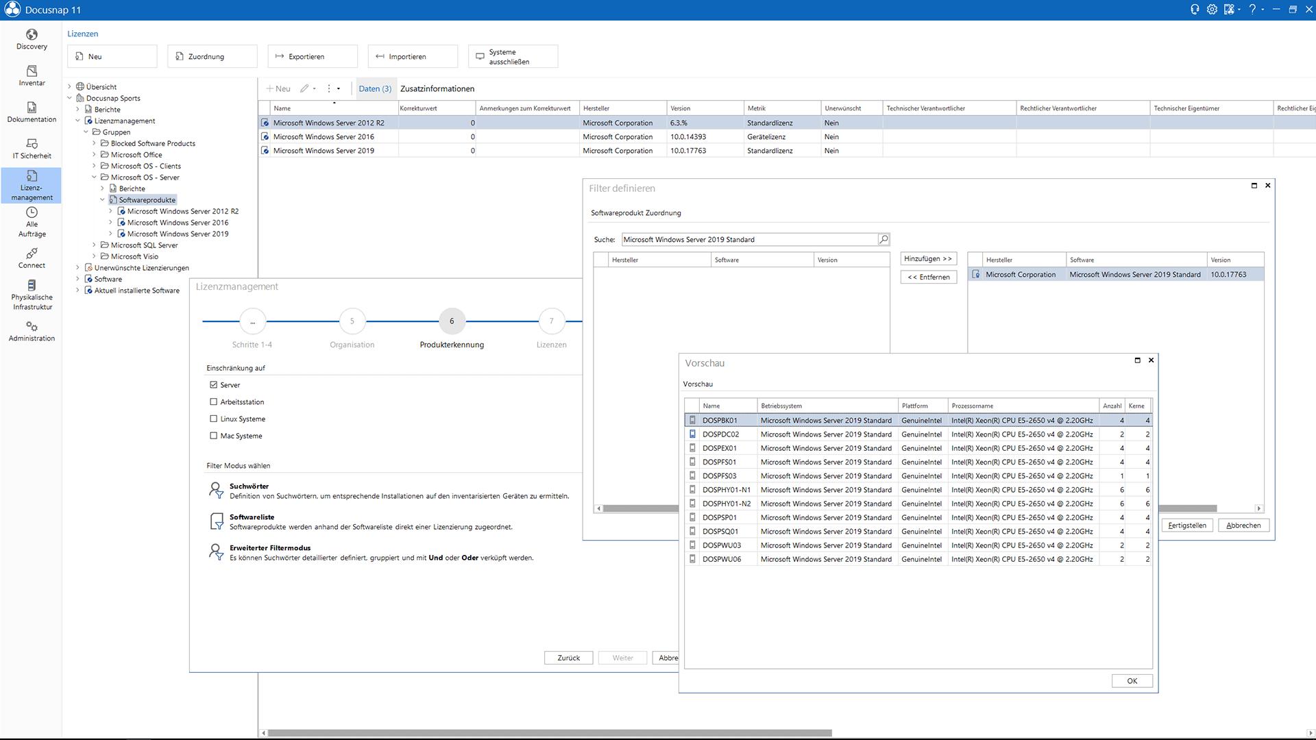 Screenshot: Zuordnung von Geräten auf Lizenzverträge