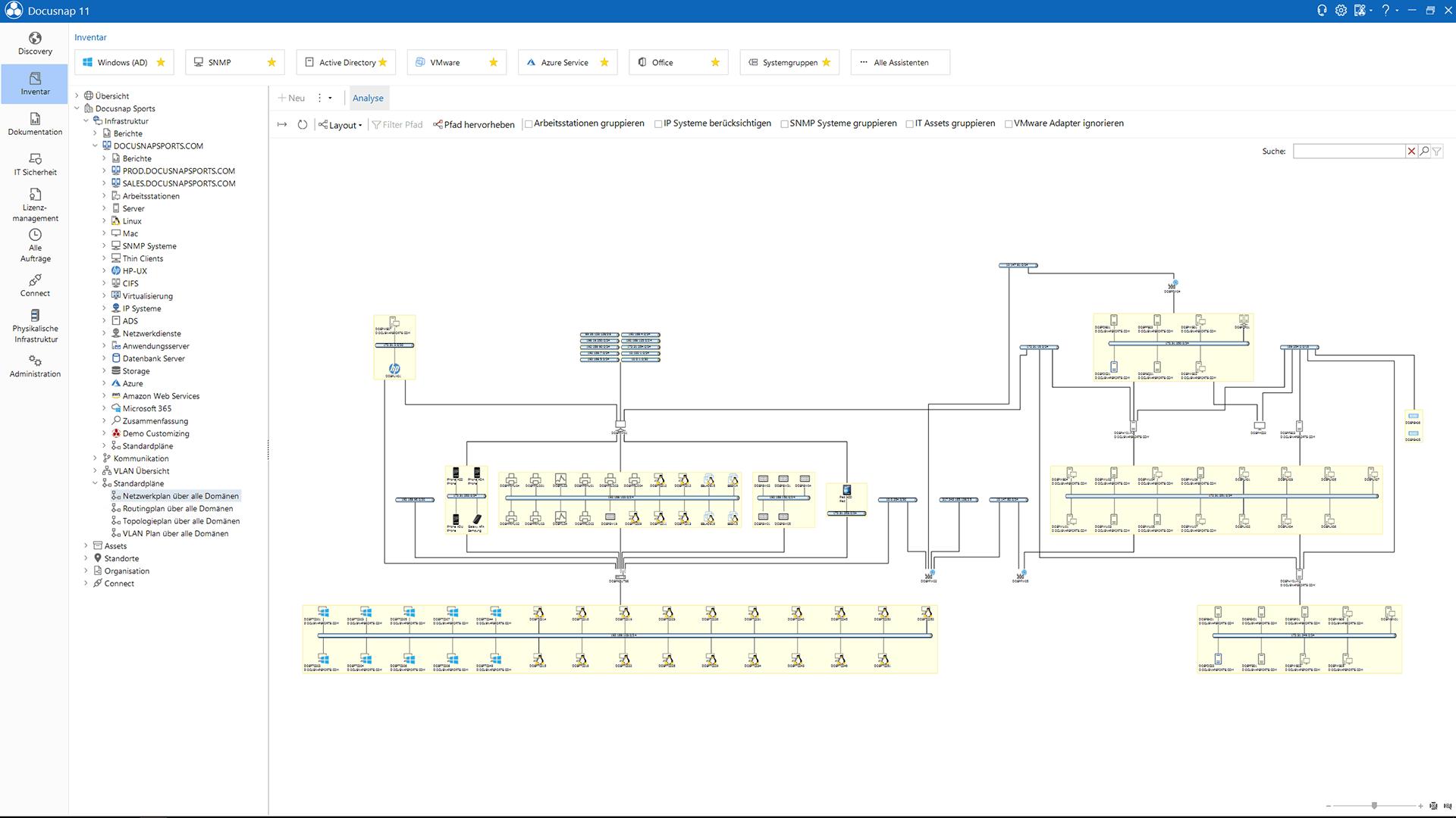 Screenshot: Netzwerkplan und Routingplan SNMP-Inventarisierung