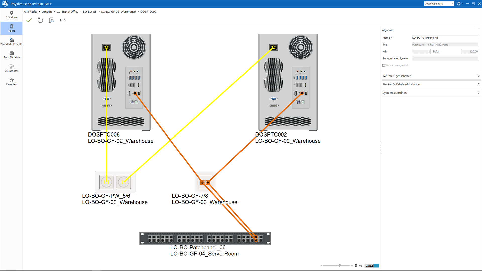 Screenshot: Netzwerkdosen manuell erfassen