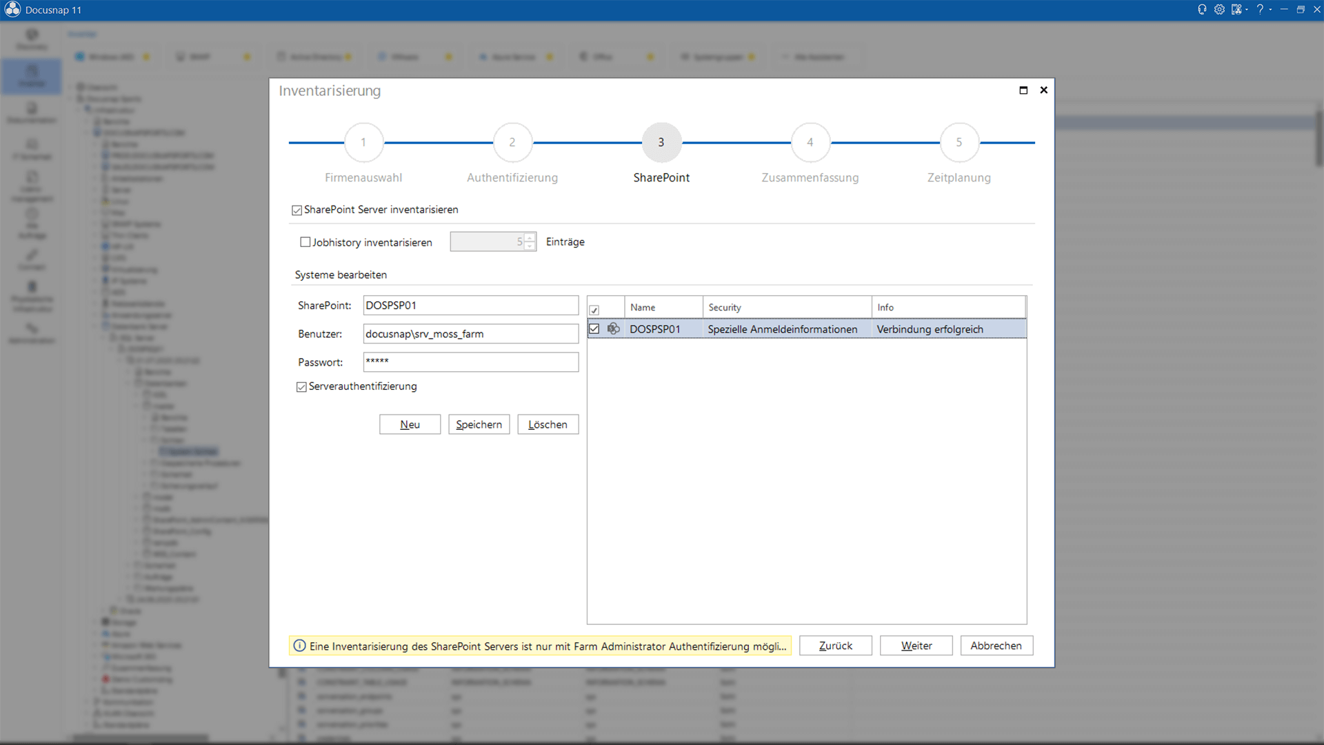 Screenshot: Inventarisierungsassistent SharePoint