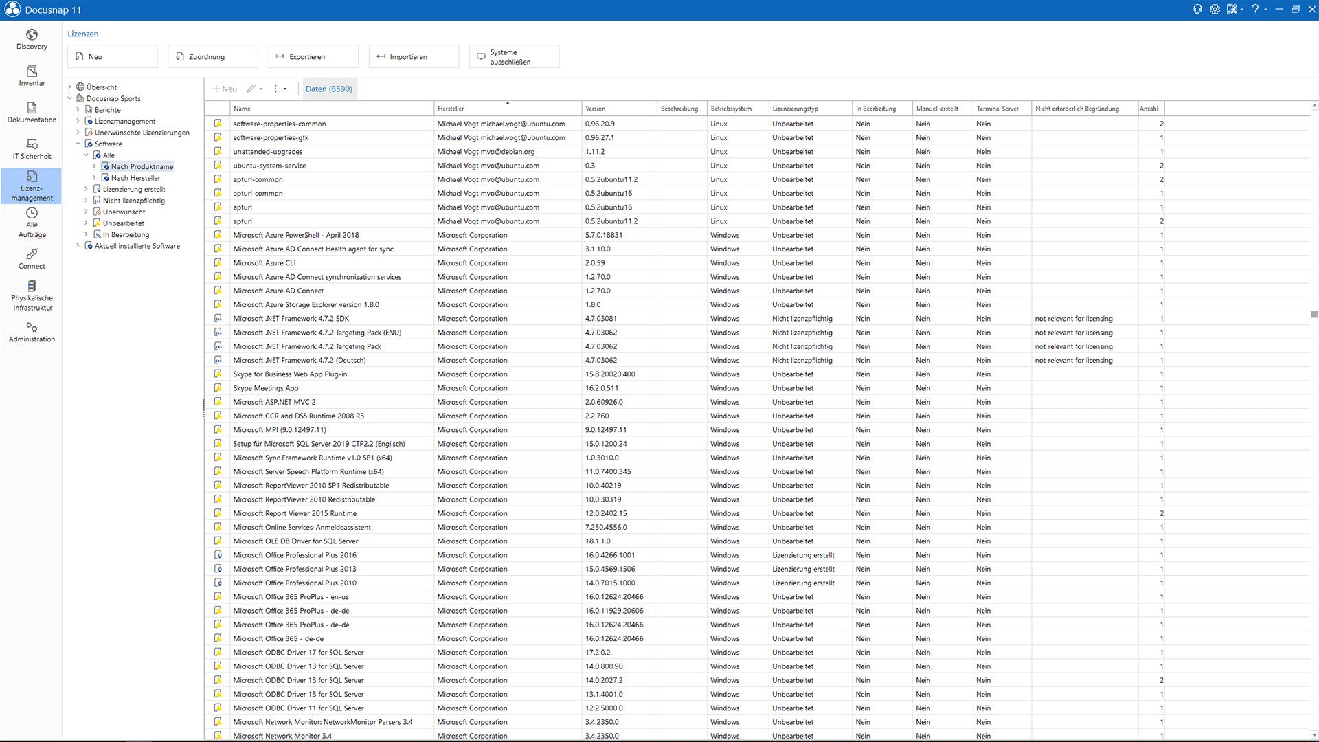 Screenshot: Softwareliste inventarisierter Betriebssoftware