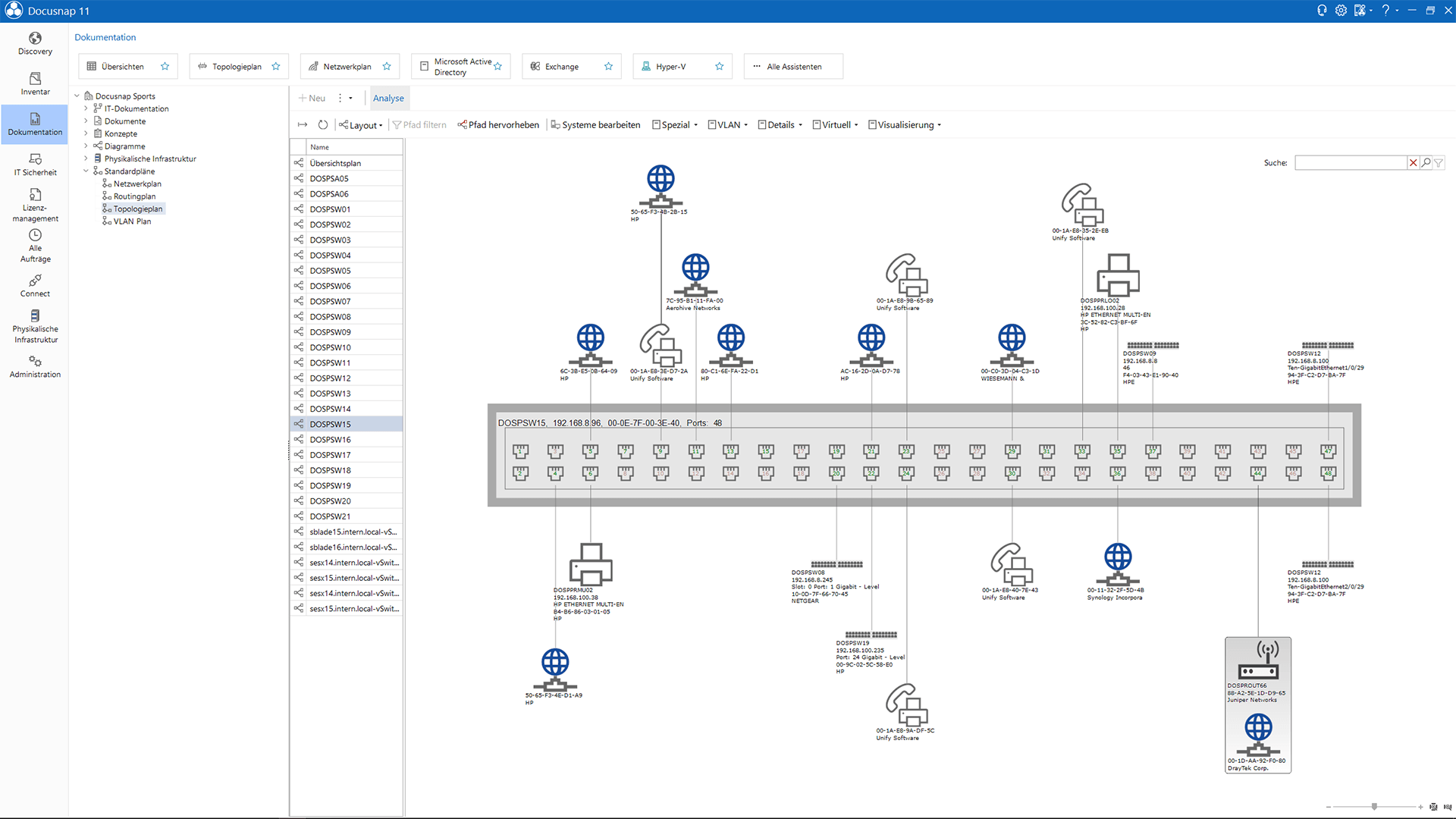 Screenshot: Frontansicht eines Switch