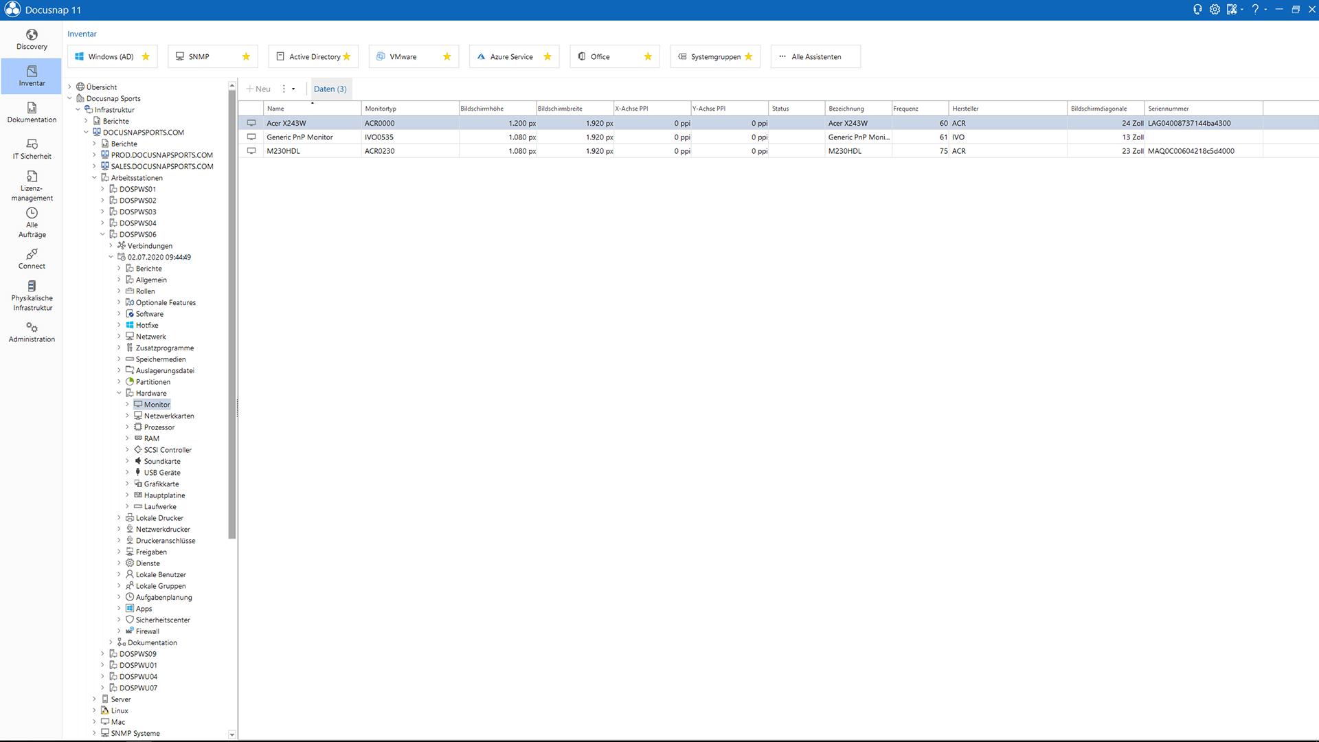 Screenshot: Windows Netzwerk-Inventarisierung im Datenexplorer