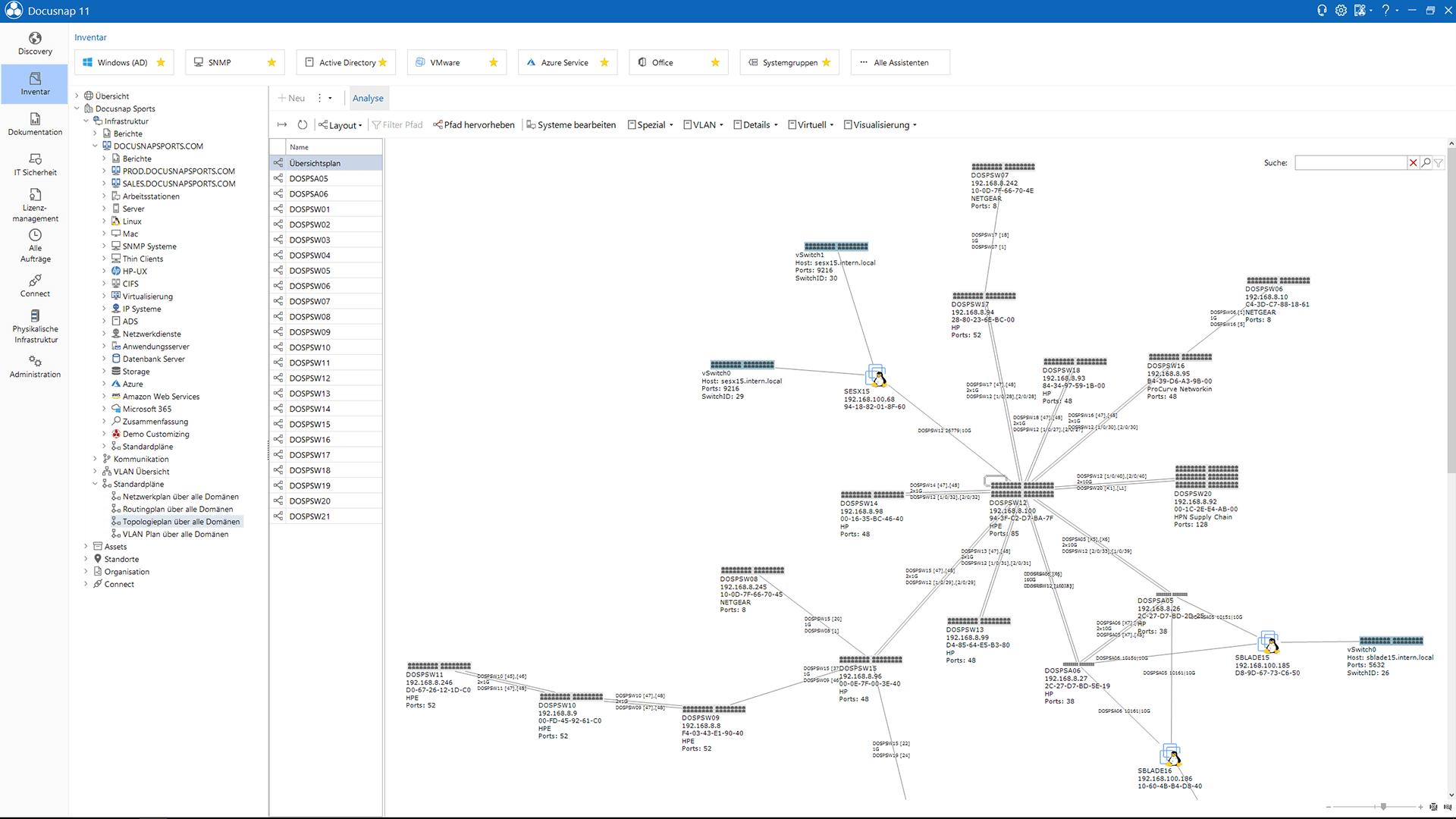 Screenshot: Netzwerktopologieplan innerhalb der SNMP-Inventarisierung