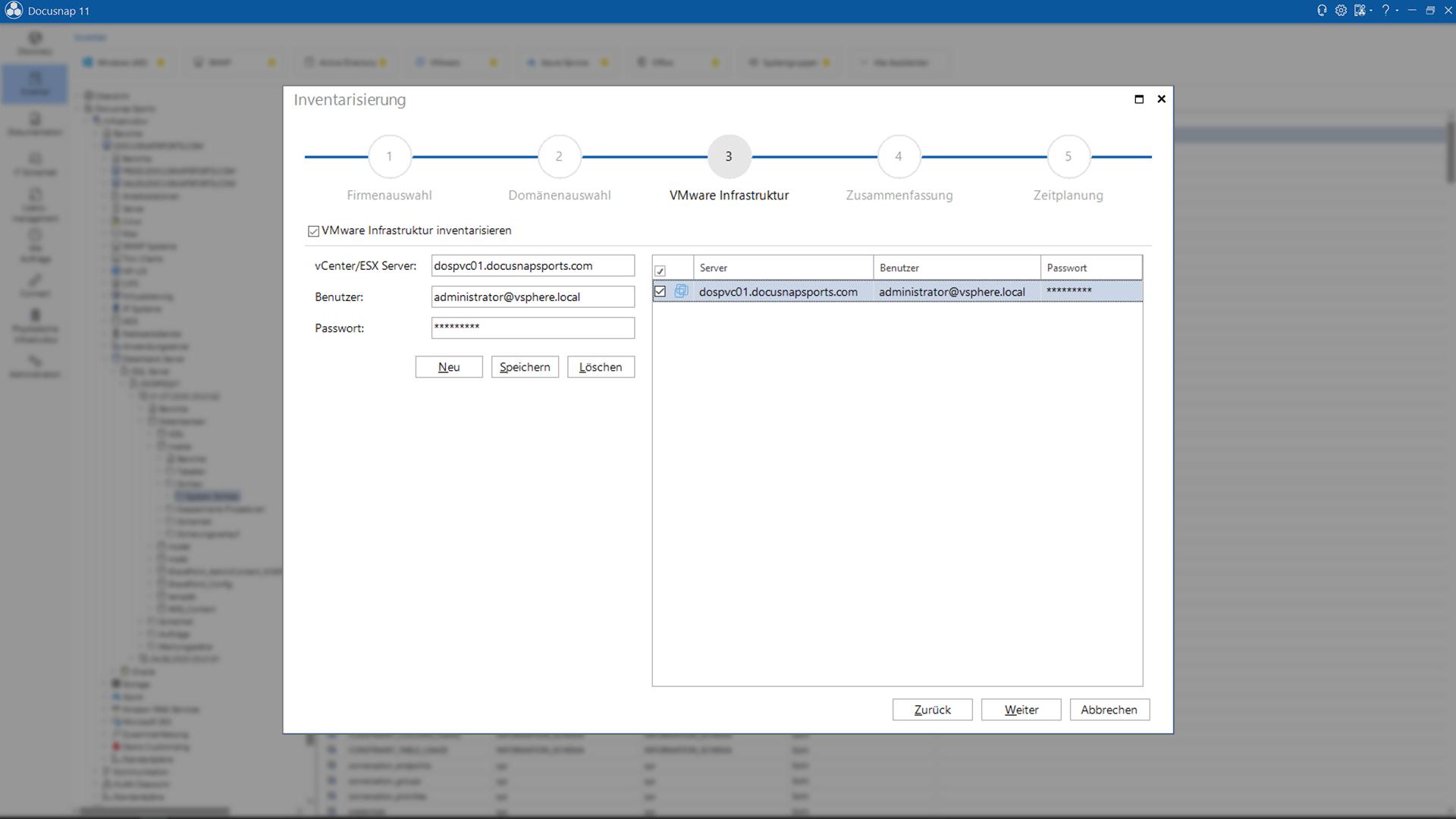 Screenshot: VMware Inventarisierungsassistent
