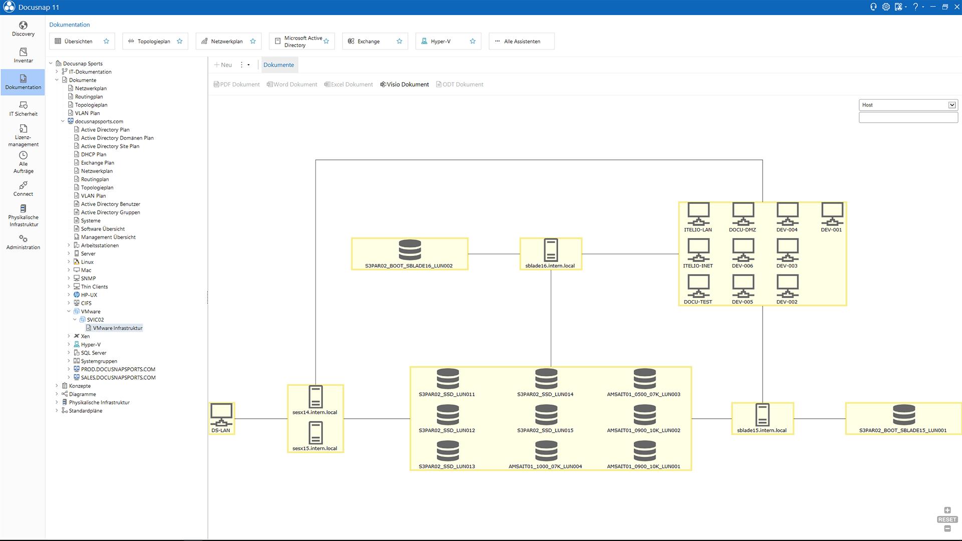 Screenshot: Darstellung der VMware Umgebungen