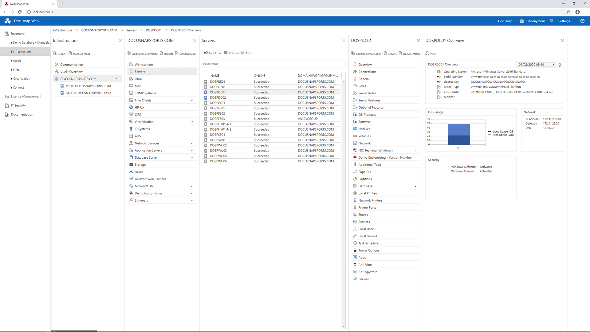 Screenshot: Docusnap über Web Browser aufrufen