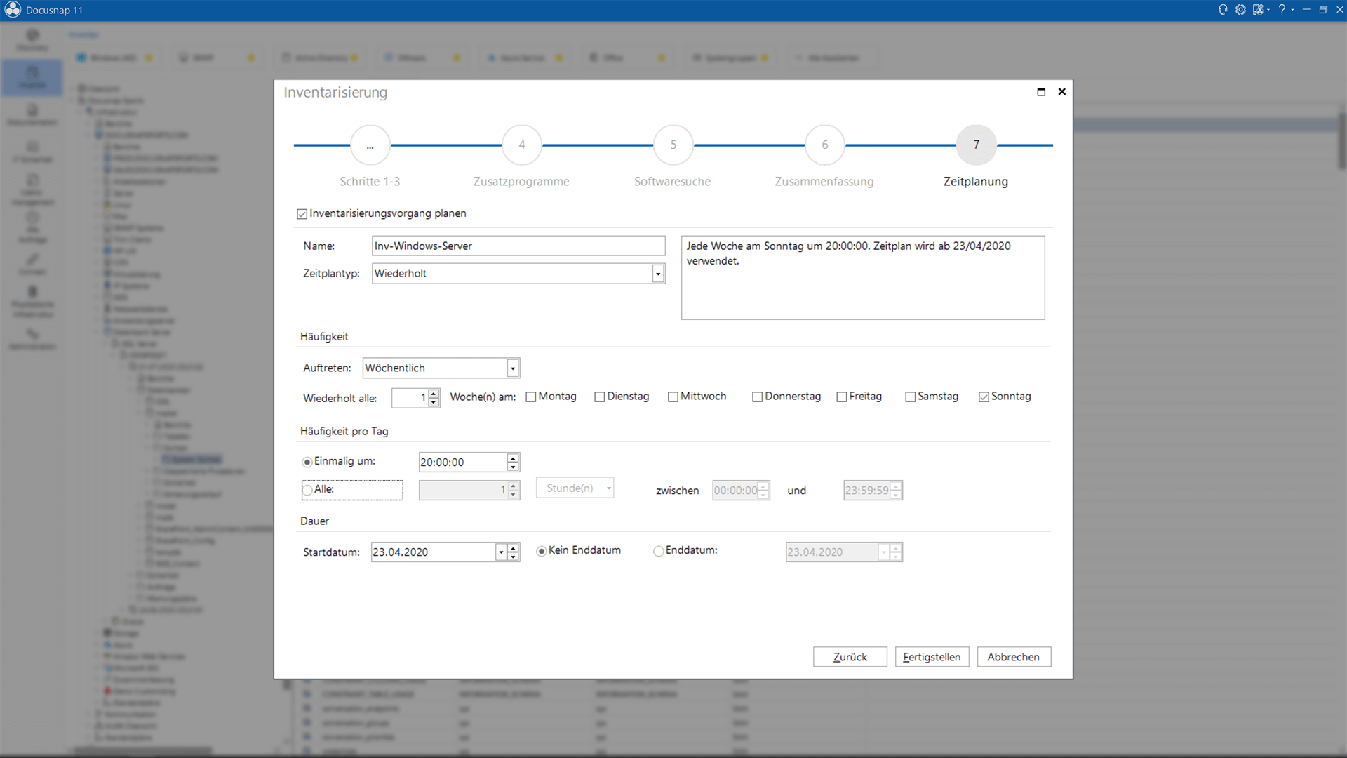 Screenshot: Inventarisierungsintervall im Assistenten eingeben