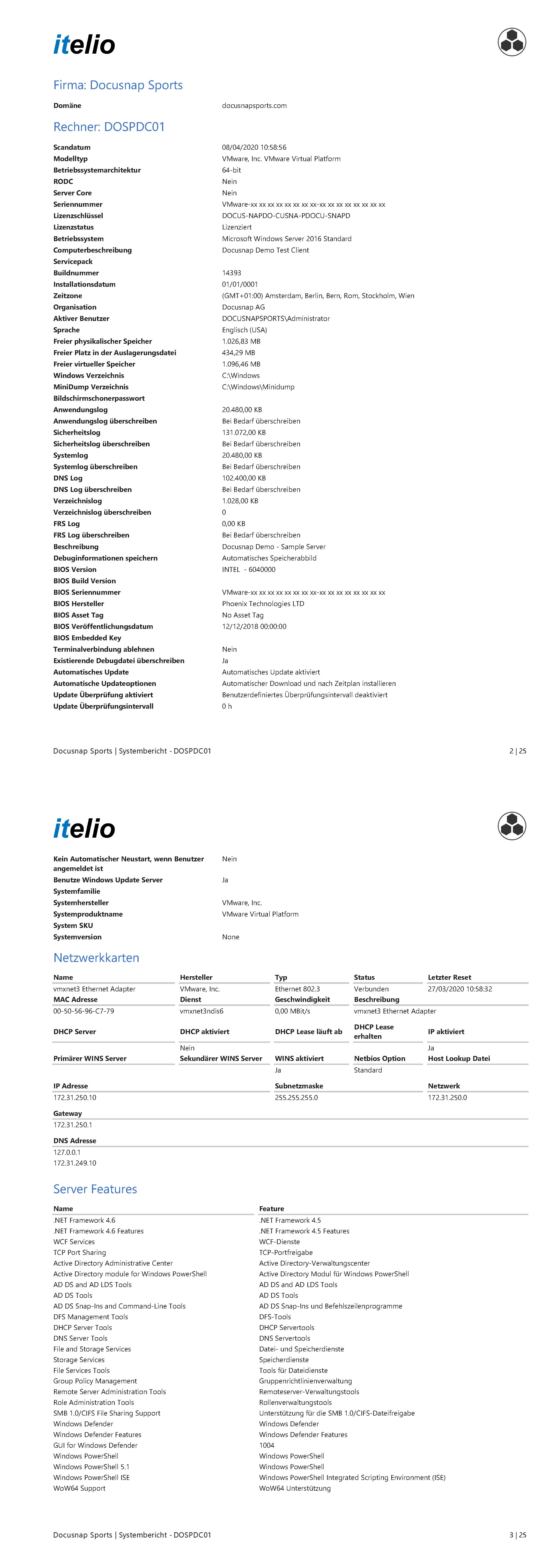 Screenshot: Software-Bericht Rechner Zusammenfassung