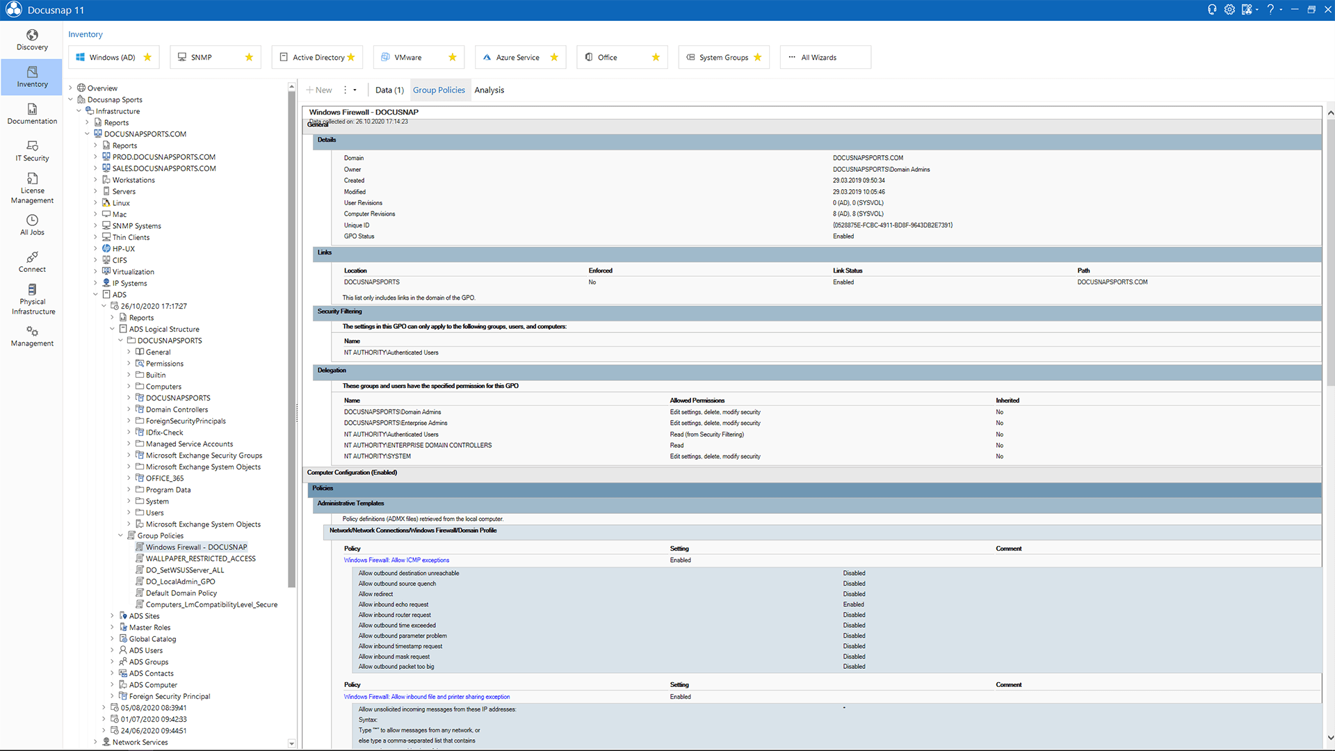 Screenshot: Data Explorer Active Directory