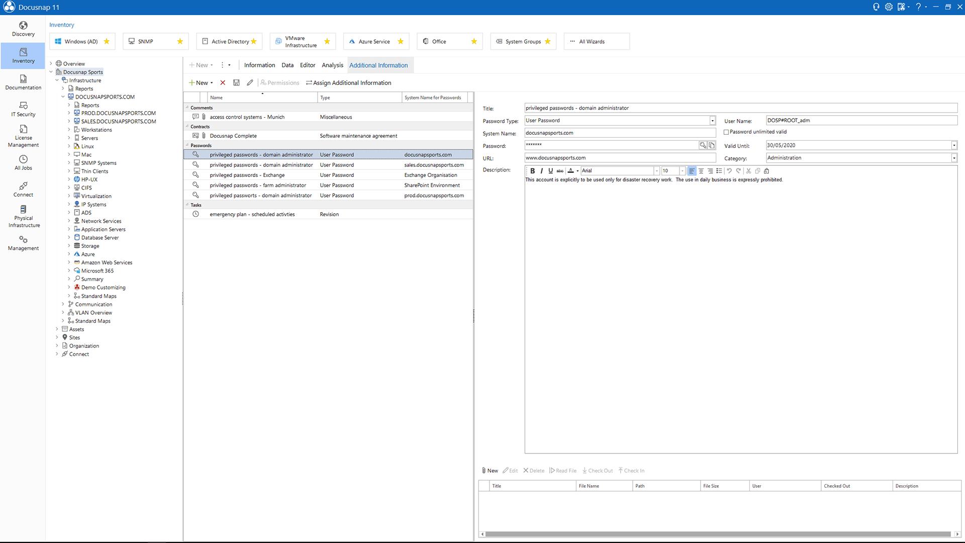 Screenshot: Passwordmanagement in Docusnap