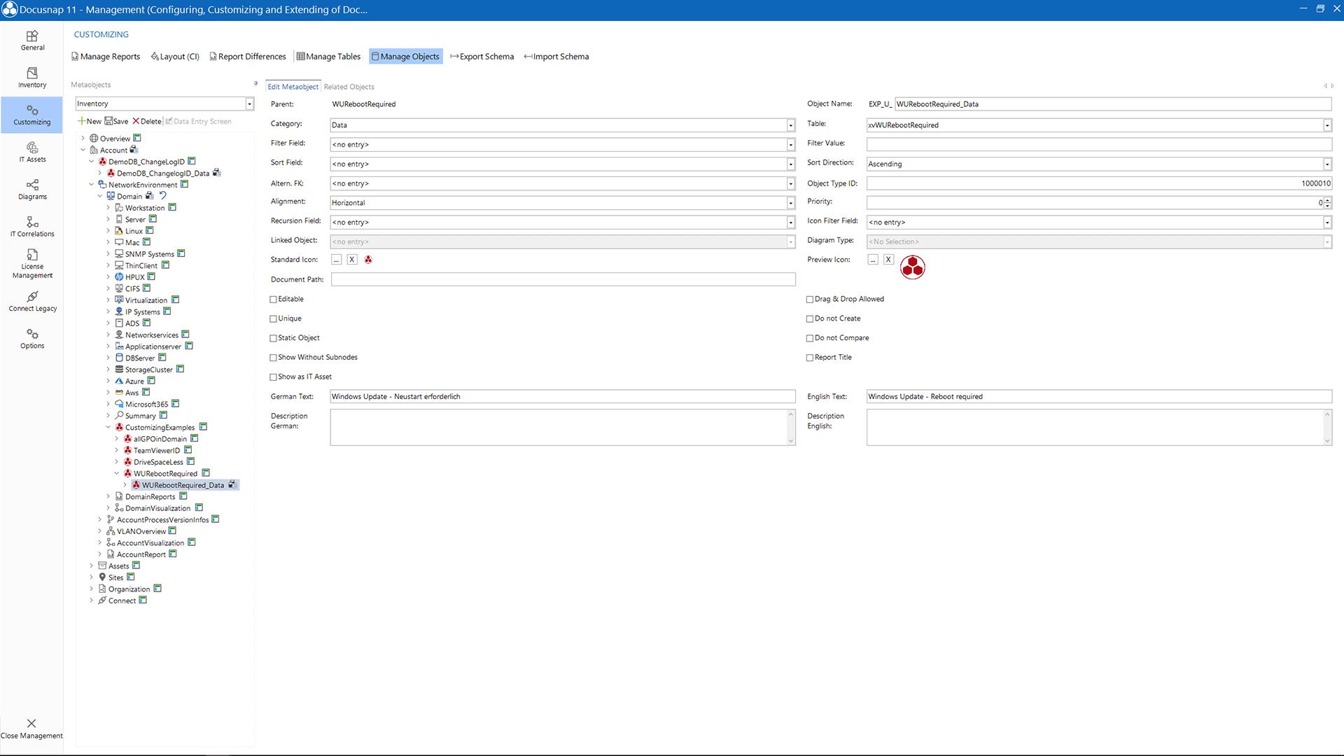 Screenshot: Customizing Manage Objects