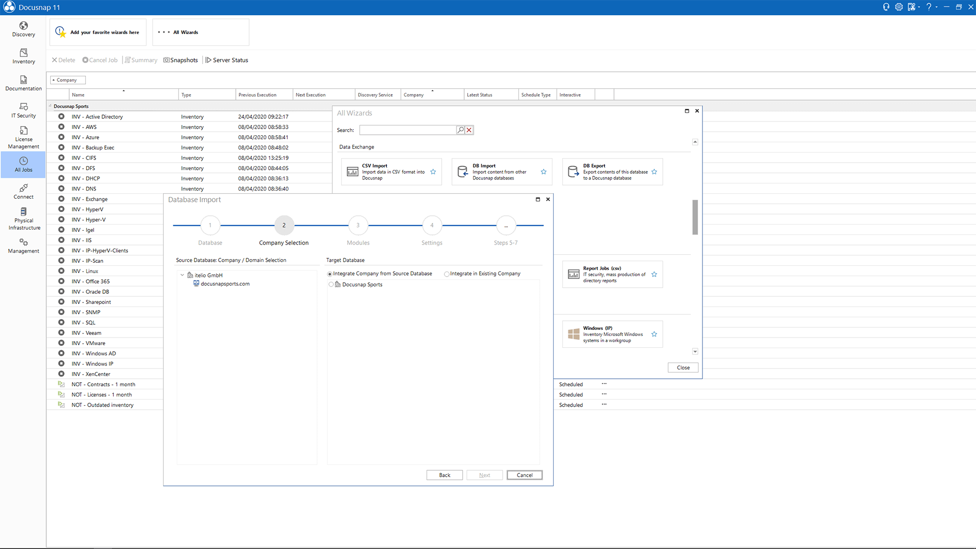 Screenshot: Database Import