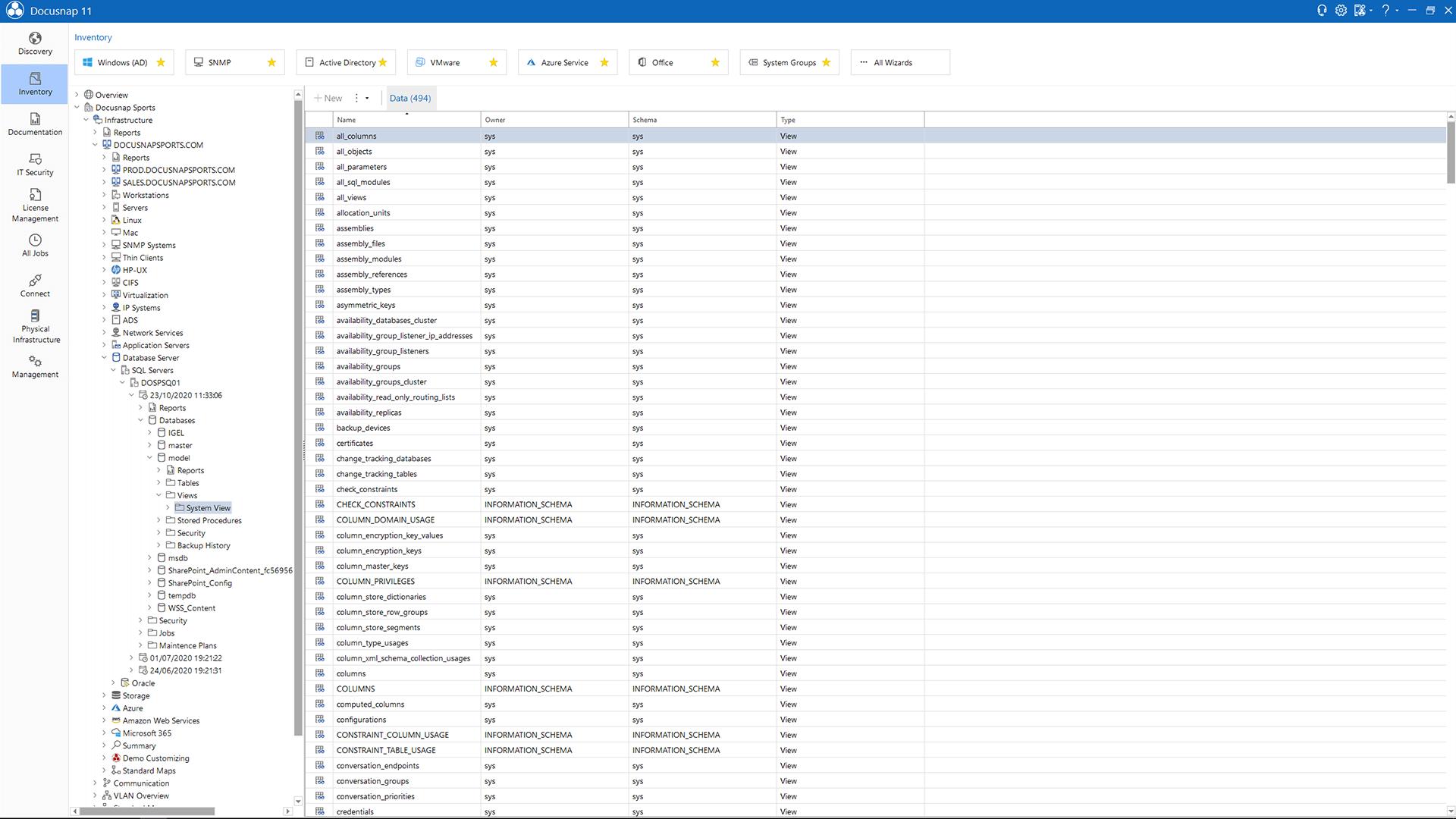 Screenshot: Data Explorer SQL Views