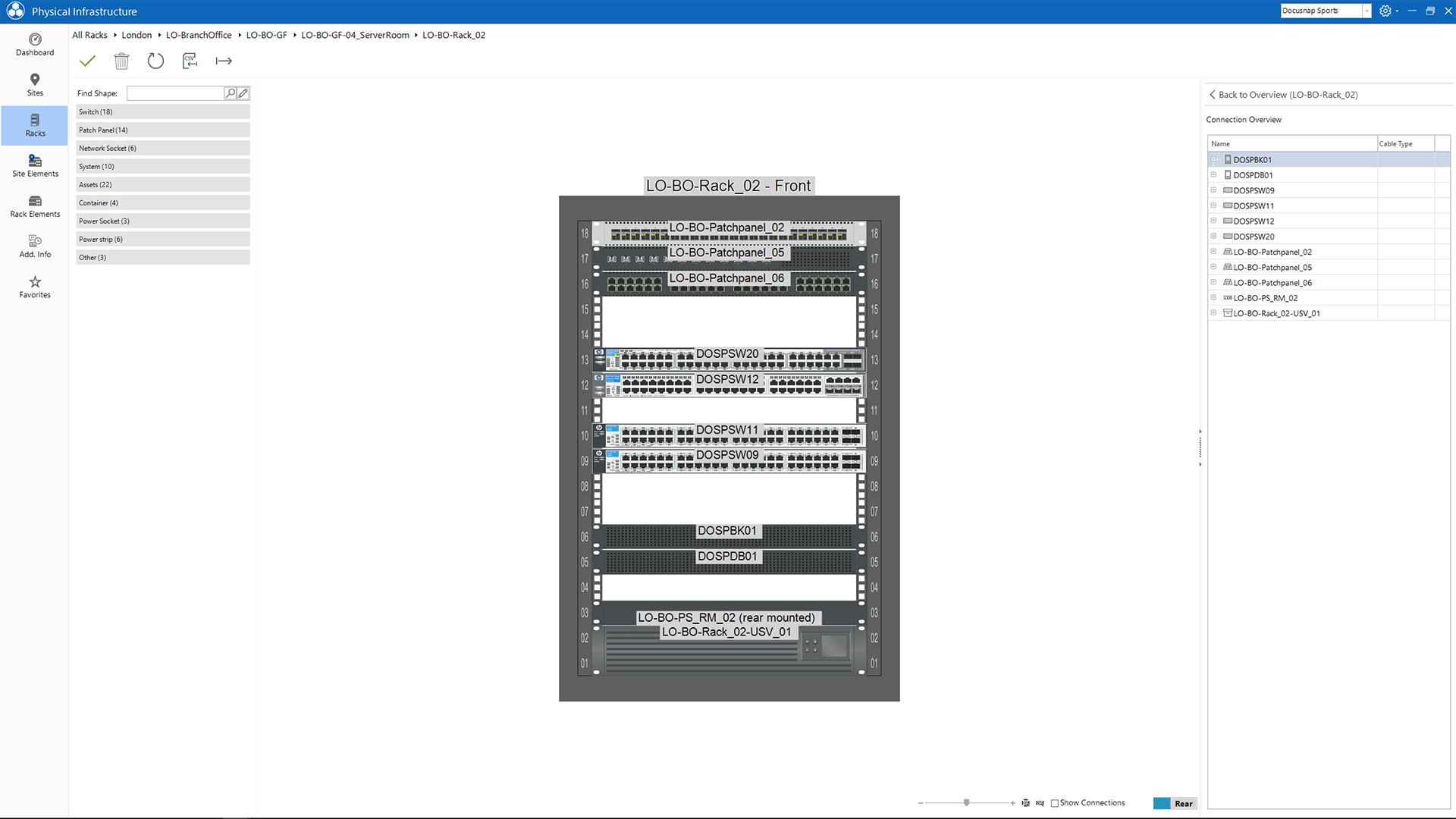 Screenshot: Hierarchical representation of the hardware rack map within the infrastructure editor