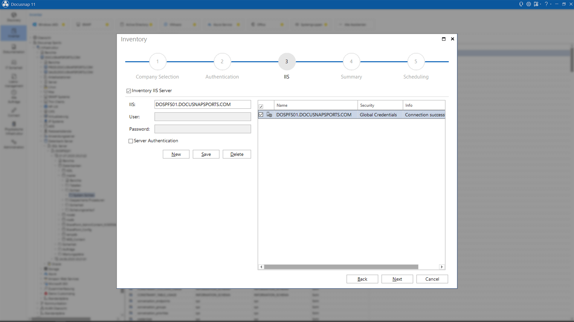 Screenshot: IIS Server Inventory