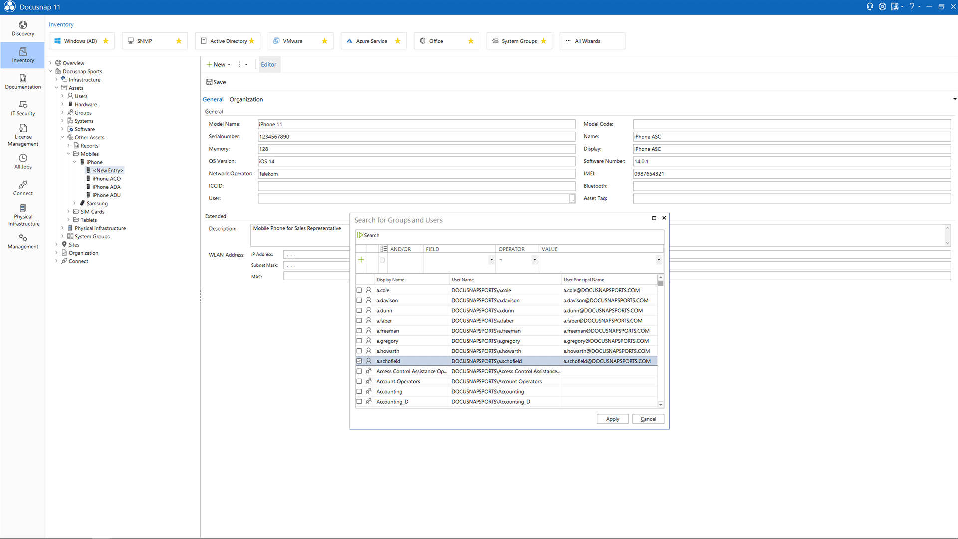 Screenshot: Documenting systems using IT Assets