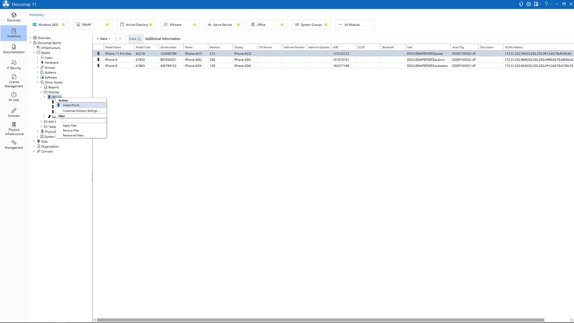 Screenshot: Creating IT Assets